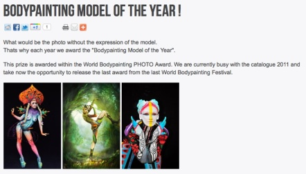 Julie as Second Model of the Year at the Worldbodypaintingfestival
