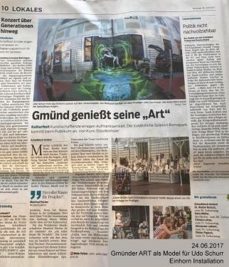 26.06.2017 als Model für Udo Schurr auf der Gmünder ART Installation Einhorn