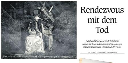 http://www.calameo.com/read/0017345254f2c1ae1d925 Offenburger Tageblatt als Reportage über das Konzeptshooting mit Nicky van Tastic, Reinhard Ringwald und Carina Kuehnau