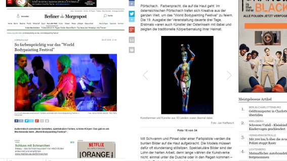 World Bodypainting FEstival 2016 Berliner Morgenzeitung