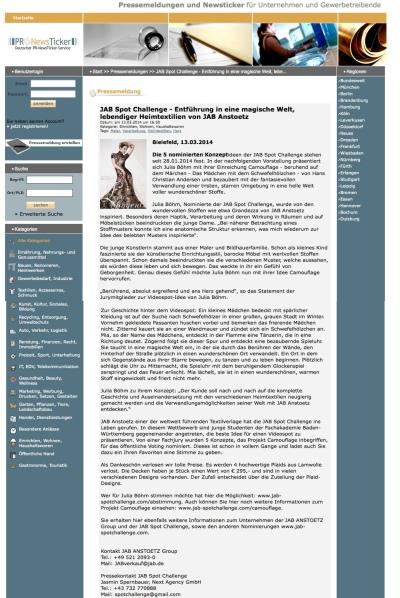 http://www.pr-newsticker.de/pressemeldung/JAB-Spot-Challenge-Entführung-in-eine-magische-Welt-lebendiger-Heimtextilien-von-JAB-Anstoetz-32101490