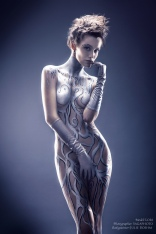 silver body painting