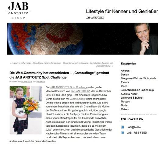 http://blog.jab.de/2014/05/20/die-web-community-hat-entschieden-camouflage-gewinnt-die-jab-anstoetz-spot-challenge/