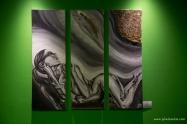 mixed media, oil , triptychon: 90 x 30 cm