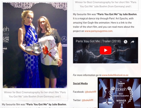 """Best Cinematography for """"Paris you got me"""" at the BokehFFF"""